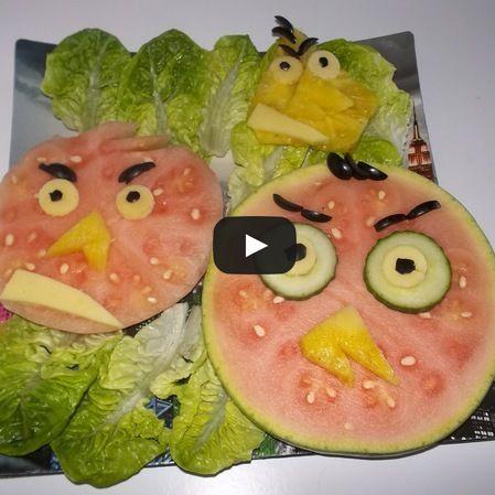 Angry Birds hechos con fruta