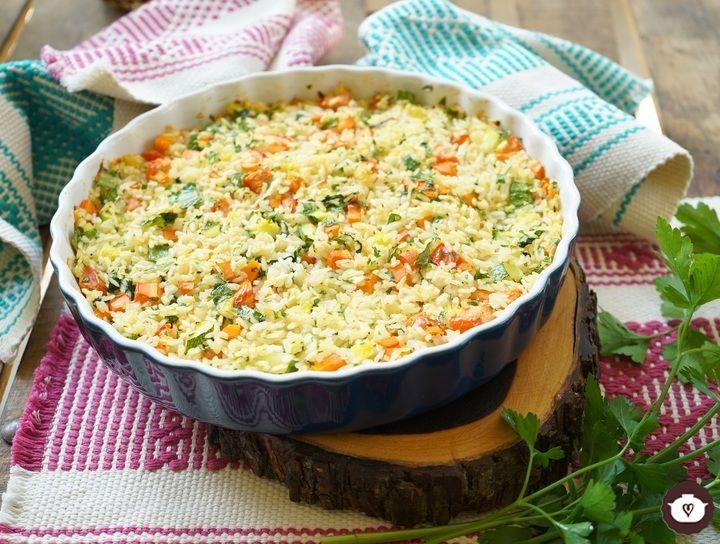 Pastel de arroz con kale y verduras