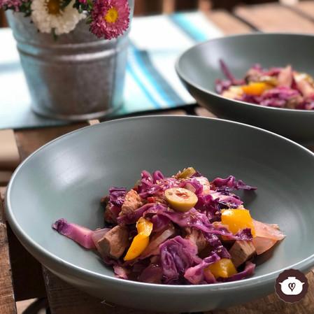 Arrimado de col o wok peruano