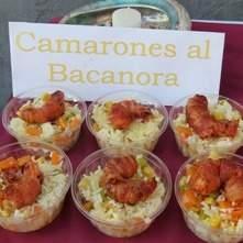 camarones al bacanora con arroz de leche