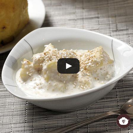 Piña con yogur y amaranto