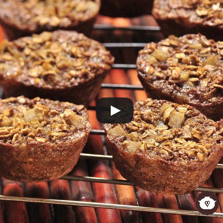 Cupcakes de avena con pera