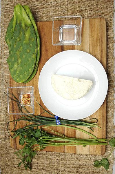 Ingredientes para receta 4 piezas de penca de nopal 300 gramos de queso panela 3 cucharadas de aceite de oliva 1/4 manojo de cebollín 5 ramas de cilantro 1/4 cucharita de chile seco en hojuelas sal al gusto pimienta negra molida al gusto