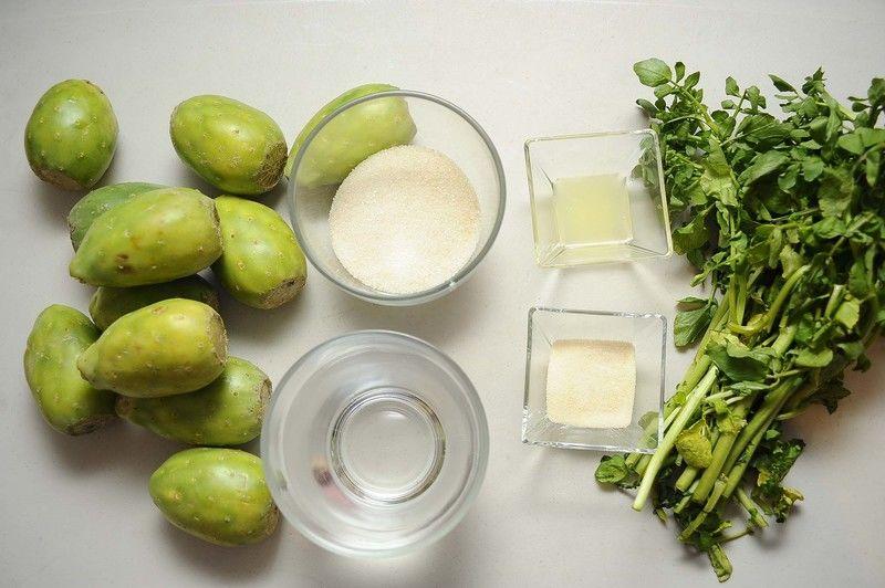 Ingredientes para receta 12 piezas de tuna 1 1/2 tazas de agua 1/2 taza de azúcar blanca 1 cucharada de jugo de limón 1/2 manojo de berros 28 gramos de grenetina natural