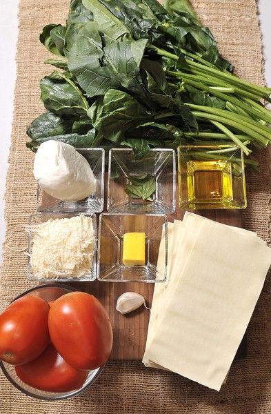 Ingredientes: 6 piezas de jitomate guaje 1 diente de ajo 6 hojas de albahaca fresca 2 manojos de espinaca 300 gramos de lasaña pre cocida 1 trozo de mantequilla sal al gusto pimienta negra molida al gusto aceite de oliva al gusto 150 gramos de queso mozzarella queso parmesano rallado al gusto