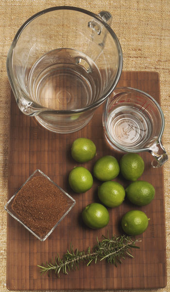 ½ taza de agua ½ taza de azúcar mascabado (morena) 1 ramita de romero 8 limones 2 ½ tazas de agua Rebanadas de limón para decorar