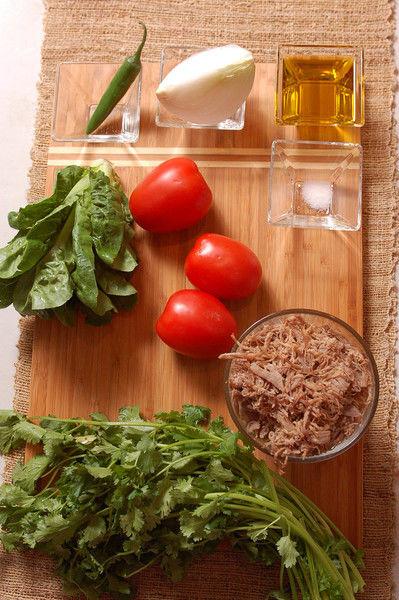 1/2 manojo de cilantro 1 pieza de chile serrano 3 piezas de jitomate guaje 1/4 taza de aceite de oliva extra virgen 1/4 pieza de cebolla blanca desinfectante de verduras al gusto 1/4 cucharita de sal 1 pieza de lechuga 300 gramos de carne deshebrada de res