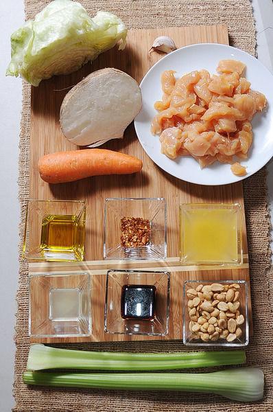 1 diente de ajo 1 cucharada de hojuelas de chile sal al gusto 2 cucharadas de aceite de oliva 1 pieza de lechuga orejona 1/4 taza de cacahuate 1 cucharada de jugo de limon 1/4 taza de jugo de naranja 1 cucharada de salsa de soya 1/2 pieza de jicama 2 piezas de zanahoria 2 ramas de apio 1 pieza de pechuga de pollo deshuesada